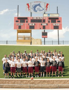 Berthoud High School's football players pose for a photo at the Colorado State University Pueblo football camp on June 15. The program is designed to build team chemistry and relationships between the players going into football season. Karen Fate/ The Surveyor