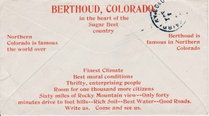 """In 1907, the Berthoud Chamber of Commerce """"boosted"""" Berthoud by providing envelopes to local businesses that had a message promoting Berthoud. Dr. S.B. McFarland who had an office in the Kee & Lyon building on Massachusetts Avenue mailed this letter to friends in Fairplay, Colo., on Oct. 31, 1907."""