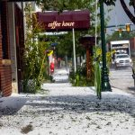 Sidewalks along Mountain Avenue in Berthoud were covered in hail Monday afternoon after a storm came through.