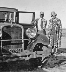 In 1931 Sid and Emma Davis stand by their car at the High Divide Ranch near Nunn. The couple spent winters in Berthoud and springs and summers at their sprawling wheat farm.