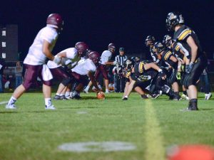 The Spartans line up against the Valley Vikings at the goal line in the third quarter of the season opener in Gilcrest, Friday, Aug. 29. The Berthoud Spartans won the contest 41-0. Read about the game in Thursday's Berthoud Weekly Surveyor.  John Gardner / The Surveyor