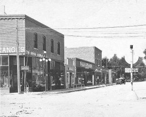 The Chamber of Commerce Building (far left) was constructed in 1907. Berthoud's new-formed Chamber of Commerce was one of the building's first occupants, taking up quarters in one of the upstairs offices. The Shyrock Hardware store and C.P. Thompson's harness shop occupied the east and west ground floor rooms respectively. Photo courtesy Berthoud Historical Society