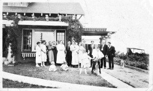 Ed McCormick constructed a fine brick bungalow on his family's farm north of Berthoud in 1917. A large group of McCormick's friends and family are show shown in this photograph that was taken in the 1920s. McCormick and his father, W.H. McCormick, operated a general store near the corner of 3rd St. and Mountain Ave. in the town's early years. Allen Collection, Berthoud Historical Society
