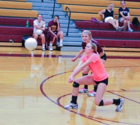 Haley Hummel is lined up for a perfect pass while Alyssa Peacock looks on against Windsor on Sept. 18. Paula Megenhardt / The Surveyor