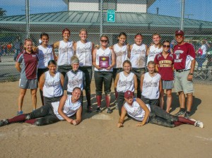 The Berthoud High School Lady Spartans celebrate their championship victory in the Maroon Division at the Spartan Classic Tournament  on Sept. 6 at Barnes Softball Complex in Loveland.  Jan Dowker / The Surveyor