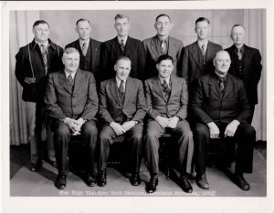 "The Great Western Sugar Company's ""High Ten"" growers for the 1941 season included (back row right-to-left) Cyriel Darrus, Nels Peterson, Henry Weber, John W. Waggener, Rasmus Jordaner, S.P. Crowley (front row right-to-left) Abe Abrams, Jake Stroh, Howard Binder and S.A. Gray. Photo courtesy of Berthoud Historical Society"