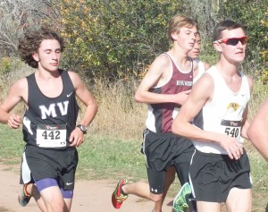 Berthoud's Luke Spitz, center, runs in the middle of the lead pack at the Region 4 cross country meet on Oct. 16. Spitz finished fifth and qualified to the state meet that will be held on Oct. 25 at the Norris-Penrose Event Center in Colorado Springs.  Photo courtesy of Lisa Spitz / The Surveyor