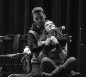 "Brandon Sutorius, playing the part of Davey, and Emma Maggi-Byers, playing the part of Frankie, run through a scene of John Olive's ""The Voice of the Prairie"" at Berthoud High School on Nov. 11. John Gardner / The Surveyor"