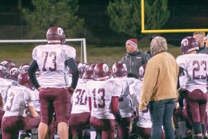 Berthoud head football coach Troy Diffendaffer talks with the team about the loss to Discovery  Canyon, 41-0, in the first round of the state playoffs on Oct. 7. It's the first time the BHS football team has had postseason play since 2008. Jan Dowker / The Surveyor
