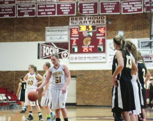 Berthoud's Taylor Armitage steps to the free throw line during the Dec. 18 game vs. Thompson Valley at BHS. Karen Fate / The Surveyor