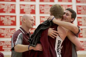 Berthoud's Devin Vise is congratulated after his third-place regionals finish.  Karen Fate / The Surveyor