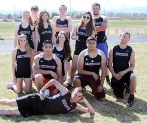 BHS seniors competed in the Max Marr Track and Field Invitational for the last time this past Saturday. Back row: Olivia Eppler, Luke Spitz, Emily Voll, Gage Hope, Lexy Seeley, Ivan Gaitlin Warehime. Second row: Kiah Leonard, Erick Hernandez, Lydia Lind, Sebastian Gonzalez, Michael Woodiel, and Triple Wadsworth (front). Photo courtesy of Kim Skoric