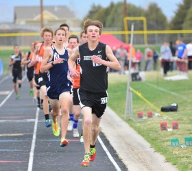 Berthoud's Luke Spitz leads the pack in an event at the 2014 Max Marr Invitational at Berthoud High School.  Surveyor file photo