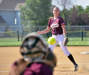 Berthoud pitcher Taylor Armitage warms up against Erie on Aug. 25 at Bein Field at Berthoud High School.  John Gardner / The Surveyor
