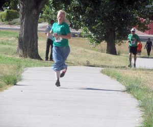 Naomi Williams of Estes Park was the first woman at the Fall Family Fun Run on Sunday. Proceeds from the event go toward health and wellness programs at Berthoud schools.