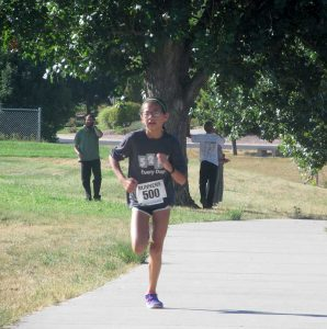 Turner Middle School seventh grader, Genevieve Babyak was the second woman across the finish line at the Fall Family Fun Run on Sunday. Proceeds from the event go toward health and wellness programs at Berthoud schools.