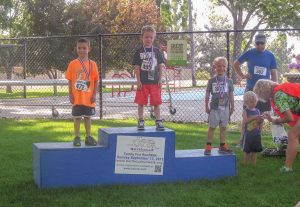 Aiden Smyre, Matthew Harris, Brody Hall and Henry Ingram won awards in the 6 years old and younger category at the Fall Family Fun Run on Sunday. Proceeds go toward health and wellness programs at Berthoud schools.  All photos courtesy of Kade Leonard