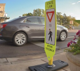 """Local officals are working with the Colorado Department of Transportation to place additional """"Yield to pedestrian"""" signs at several intersections along Mountain Avenue in Berthoud. CDOT officials say the signs should be in place in December. John Gardner / The Surveyor"""