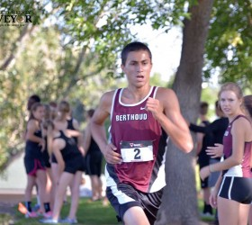 Senior runner Elijah Grewal pushes toward the finish line at the Loveland Sweethart meet at Loveland High School on Sept. 25. Grewal placed 11th overall and first place in his division. John Gardner / The Surveyor