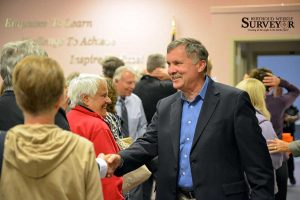 Berthoud resident and Thompson School Board District G candidate Dave Levy talks with people who attended the Larimer County League of Women Voters candidate forum Tuesday night at the Thompson School District Board of Education boardroom.  John Gardner / The Surveyor