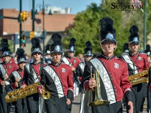 The Berthoud High School marching band pictured performing at this year's Homecoming parade on Sept. 17. The band will make its way to Pueblo on Oct. 26 to perform for the judges at the 2A high school band state competition. Surveyor file photo / John Gardner