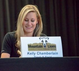 Kelley Chamberlain signs her letter of intent at the ceremony at Berthoud High School on Nov. 11. John Gardner / The Surveyor