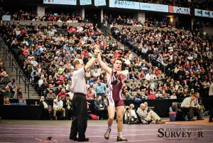 Berthoud senior wrestler Jimmy Fate wins his first state championship in 2013 at Pepsi Center in Denver. Fate went undefeated last year on his way to a second championship. He is looking to become the school's first ever three-time wrestling champ.  John Gardner / Surveyor file photo