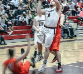 Berthoud's Jamie Gray takes it to the hoop during the Spartans' 78-66 victory against the Erie Tigers on Jan. 29 at Berthoud High School. Angie Purdy / The Surveyor