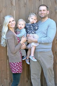 From left: The Doll Kind co-founder Victoria Farmer, son Madox, 10 months, daughter Anistyn, 2, and husband, Tim. Courtesy photo