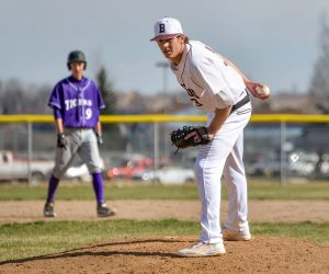 Berthoud's Issac Bracken registered two hits on the afternoon and crossed home plate twice while getting his first start from the mound on the season. John Gardner / The Surveyor