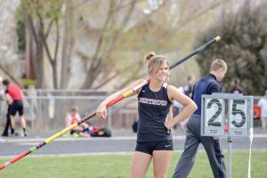 Berthoud pole vaulter Josie Spitz photographed at last year's Max Marr Invitational at Berthoud High School, returns, along with several other athletes, to help her team capture a fourth consecutive regional title. Surveyor file photo / John Gardner