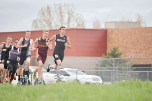 Berthoud's top long distance runner Elijah Grewal competes at a track meet earlier this season at Berthoud High School. On May 5-6, Grewal was a huge part of the boys' success as they captured the Tri-Valley Conference title, placing second in the 1,600 meters, third in the 800, fourth in the 3,200 and sixth as part of the 4 x 800-meter relay team.  Surveyor file photo/ John Gardner