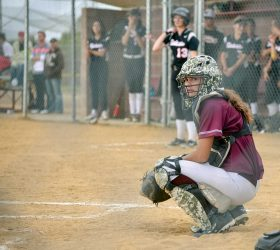 Spartans starting catcher Hannah Langer is taking a leadership role in her senior year as the team looks to fi ll fi ve starting spots opened by graduating seniors last spring, including two star pitchers. Surveyor file photo / John Gardner