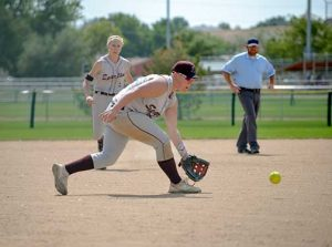 Berthoud third base Ashlynn Balliet prepares to scoop up a ball during the Friday contest against Cedaredge on the first day of the annual Spartans Classic softball tournament held at the Barnes Softball Complex in Loveland Sept. 9-10.  John Gardner / The Surveyor