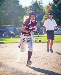 Berthoud's Tristan Pope races to cross home plate to score the Spartans' second run of the game versus Erie on Sept. 27. Despite the 10-2 loss, the Spartans remain in good shape with a 10-6 overall (7-4 conf.) record so far this season. John Gardner / The Surveyor