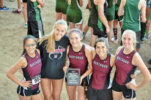 Berthoud's cross country runners from left: Kathryn Mathiesen, Liz Bosnich, Maycee White, Hannah Buren and Cailey Archer won second place at the Andy Myers Invite in Greeley on Saturday. Photo courtesy Karen von Seggern