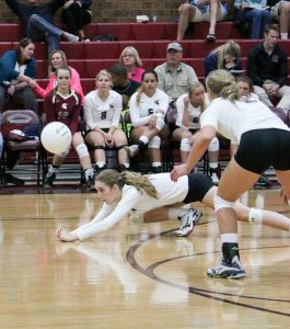 Berthoud's Sophie Kathol gets a dig during the game against Holy Family at Berthoud High School on Oct. 4. Paula Megenhardt / The Surveyor