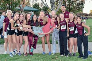 Berthoud High School's girls cross country races at 10 a.m. at the state meet on Saturday. Coach Kristi Leonard, Alyssa Radloff, Maycee White, Julianne Evans Dennison, Kathryn Mathiesen, Liz Bosnich, Cailey Archer, Alex Schultz, Coach Jordan Jennings, Lily Burtis, Hannah Buren. Front: Josh Doyle will race in the boys' race at 11:20 a.m. Courtesy photo