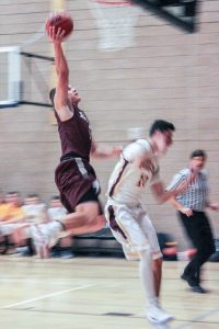 Berthoud's Karsten Bump goes up for a shot during the Spartans game this past weekend.  Angie Purdy / The Surveyor