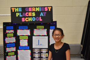 TMS student Genevieve Babyak used the science fair to find the place at school with the most germs.  Photo by Bob McDonnell, the Surveyor